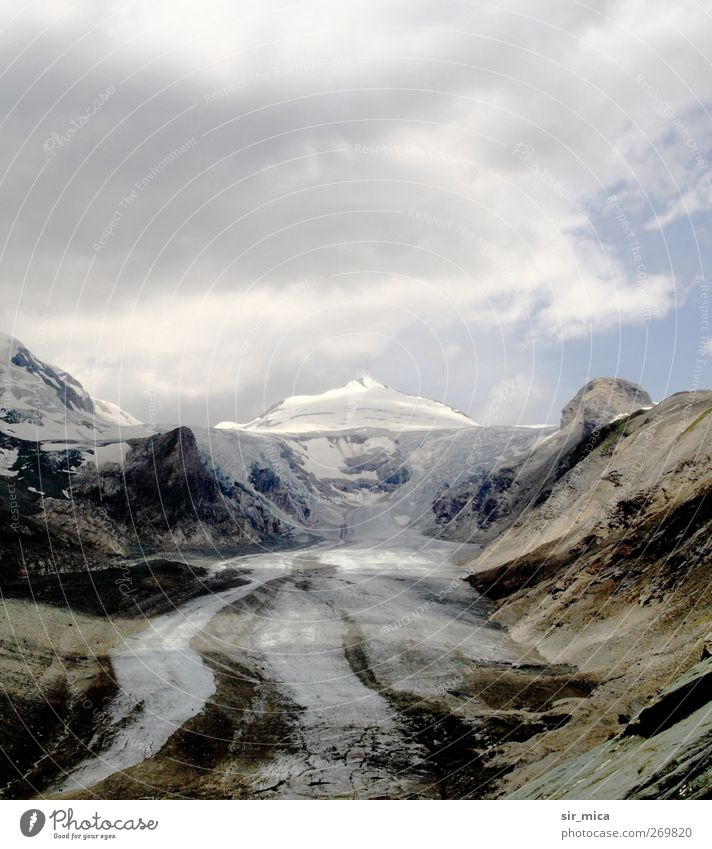 At the glacier Landscape Sky Climate change Alps Mountain Snowcapped peak Glacier Tourist Attraction Dirty Blue Brown White Grossglockner Pasterze Steep face