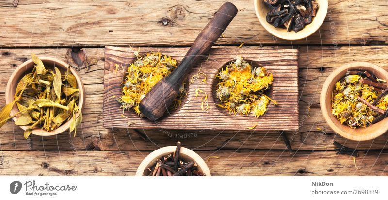 dried medicinal plants herb medicine herbal pestle health flower healthy medical healing treatment ingredient aromatherapy wooden homeopathy homeopathic leaf