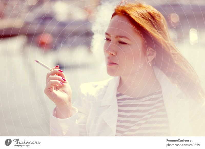 Smoky. Feminine Young woman Youth (Young adults) Woman Adults Head Hand Fingers 1 Human being 18 - 30 years Relaxation Addiction Red-haired Attractive Smoking