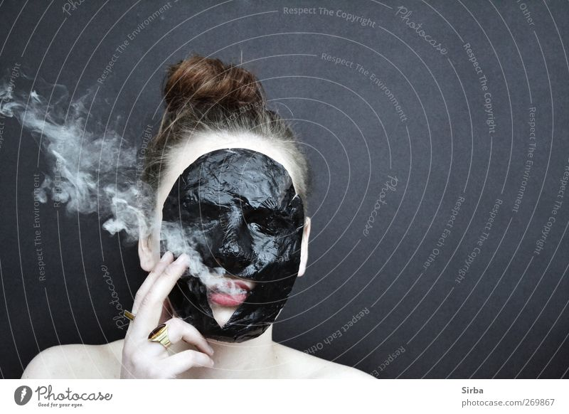 smoky masque Design Hair and hairstyles Skin Face Smoking Feminine Young woman Youth (Young adults) Head Smoke Dark Black Mask Colour photo Exterior shot