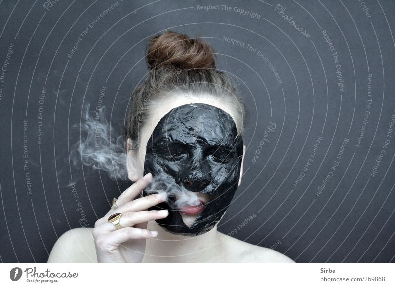 smoky mask play*2 Body Skin Face Smoking Human being Feminine Young woman Youth (Young adults) Head Hair and hairstyles Brunette Long-haired Black White Mask