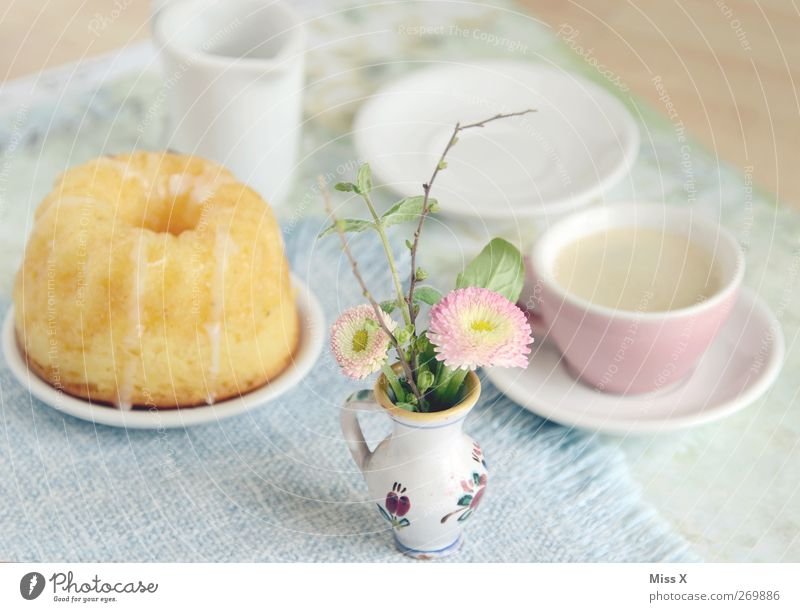 Flower Nutrition Food Beverage Sweet Coffee Crockery Cup Delicious Cake Breakfast Plate Baked goods Dough Flower vase To have a coffee
