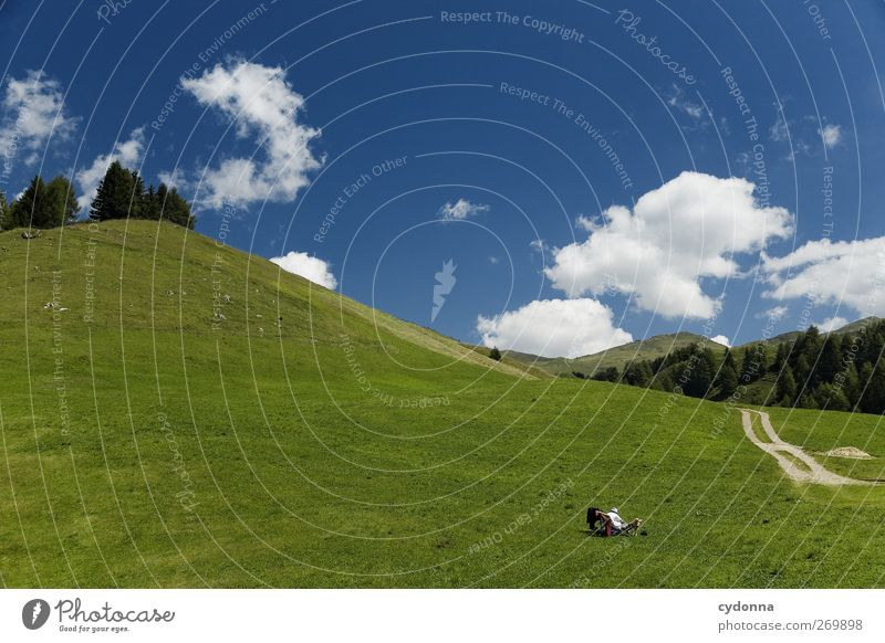 Human being Sky Nature Vacation & Travel Summer Calm Relaxation Environment Landscape Meadow Mountain Life Freedom Lanes & trails Dream Healthy