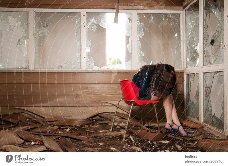 #269916 Beautiful Chair Room Woman Adults Human being Ruin Window Fashion Think Relaxation To hold on Sit Dream Sadness Cry Dark Uniqueness Cold Lovesickness