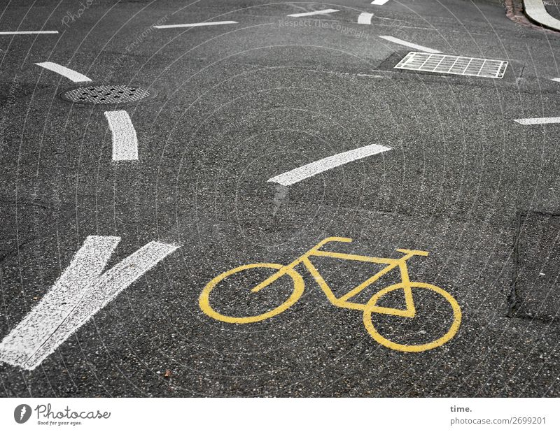 White Dark Black Street Yellow Dye Lanes & trails Stone Design Line Transport Signs and labeling Perspective Cycling Concrete