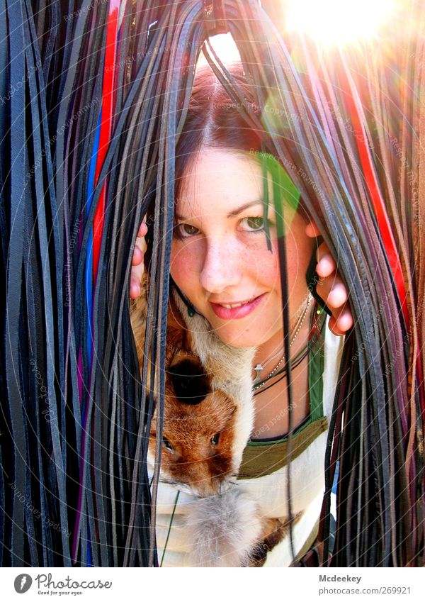 Human being Youth (Young adults) Blue White Green Red Animal Black Adults Face Feminine Happy Brown Young woman Wild animal Natural