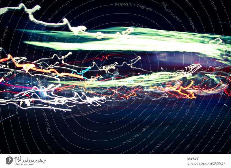 have nocturnal traces Road traffic Movement Speed Modern London Lighting effect Transport Tracks Colour photo Exterior shot Deserted Copy Space bottom Night