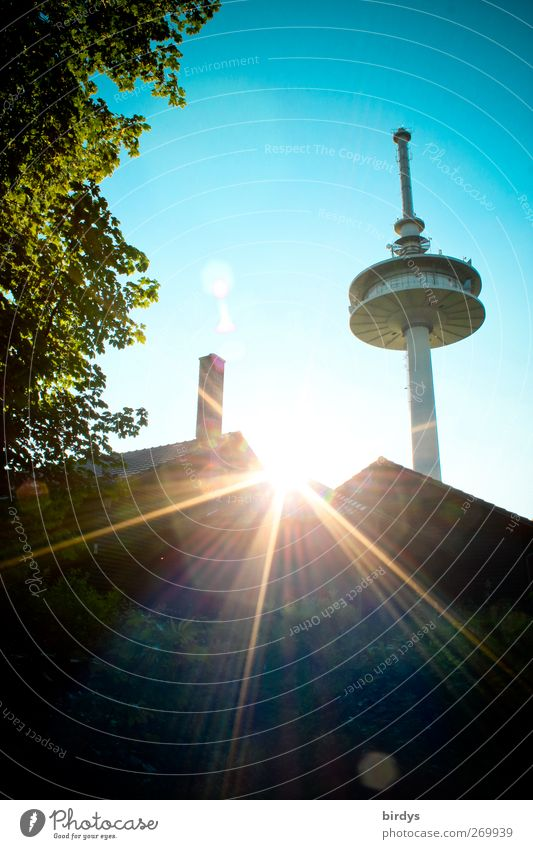 The last rays of the sun Cloudless sky Sun Sunlight Summer Beautiful weather Tree House (Residential Structure) Television tower Illuminate Esthetic Bright Tall
