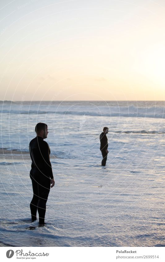 #AS# Two Dudes Masculine Young man Youth (Young adults) 2 Human being Happiness Contentment Joie de vivre (Vitality) Beach Sunset Ocean Water Wetsuit To enjoy