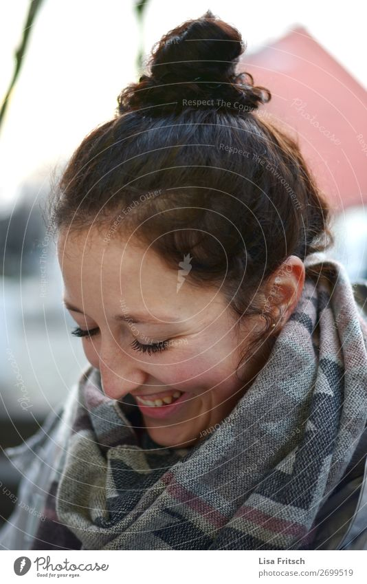 woman, bun, brunette, laugh, look down Woman Adults 1 Human being 18 - 30 years Youth (Young adults) Scarf Brunette Chignon Laughter Looking Cool (slang)