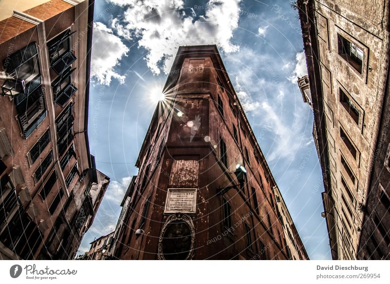 Sky Old Sun Clouds Window Architecture Brown Facade Europe Beautiful weather Italy Historic Downtown Tourist Attraction Capital city Rome