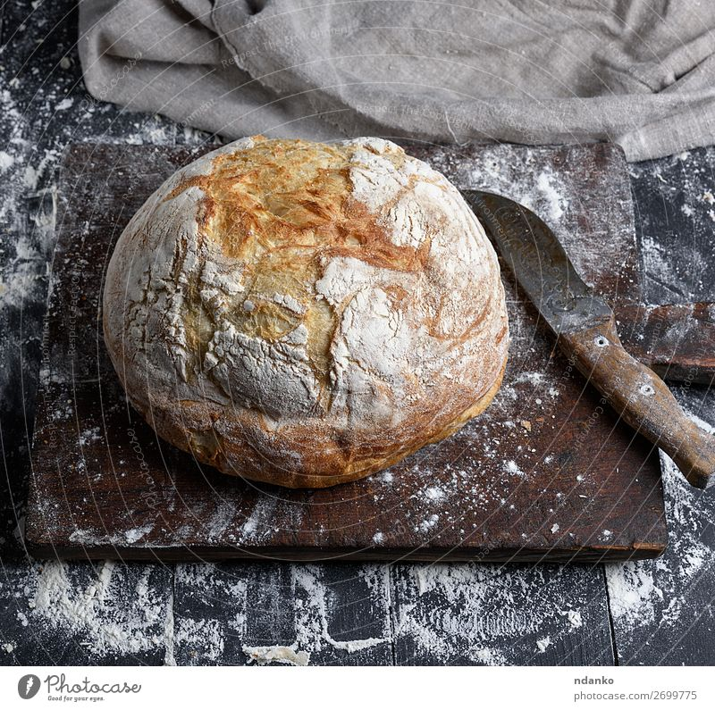 baked round white wheat bread Bread Nutrition Table Kitchen Wood Make Dark Fresh Brown Black White Tradition Baking Bakery board cooking Crust Chopping board