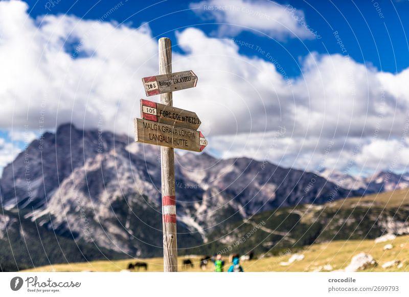 # 796 Three peaks Dolomites Sexten Dolomites World heritage High plain Colour photo Hiking Footpath Peak Mountaineering Alps Beautiful weather Meadow Summer Sun