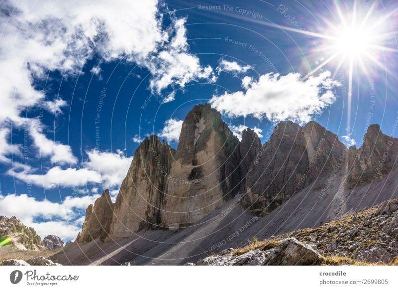 # 787 Three peaks Dolomites Sexten Dolomites World heritage High plain Colour photo Hiking Footpath Peak Mountaineering Alps Beautiful weather Meadow Summer Sun
