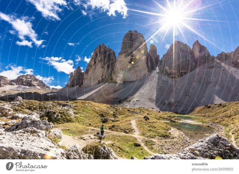 # 783 Three peaks Dolomites Sexten Dolomites World heritage High plain Colour photo Hiking Footpath Peak Mountaineering Alps Beautiful weather Meadow Summer Sun