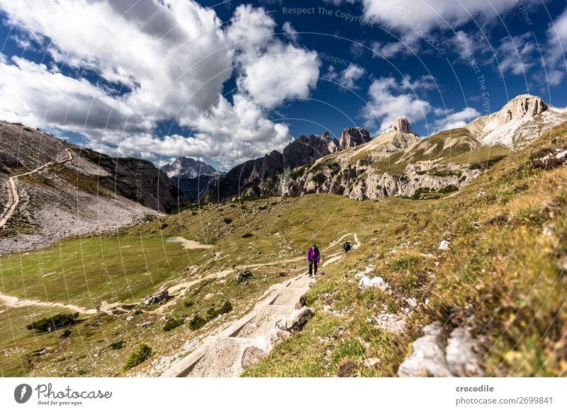 # 792 Three peaks Dolomites Sexten Dolomites World heritage High plain Colour photo Hiking Footpath Peak Mountaineering Alps Beautiful weather Meadow Summer Sun