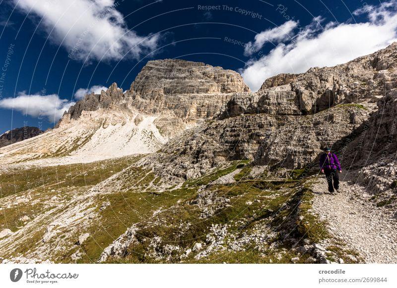 # 808 Three peaks Dolomites Sexten Dolomites World heritage High plain Colour photo Hiking Footpath Peak Mountaineering Alps Beautiful weather Meadow Summer Sun