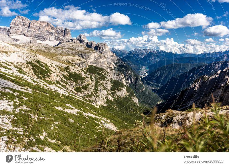 799 Three peaks Dolomites Sexten Dolomites World heritage High plain Colour photo Hiking Footpath Peak Mountaineering Alps Beautiful weather Meadow Summer Sun