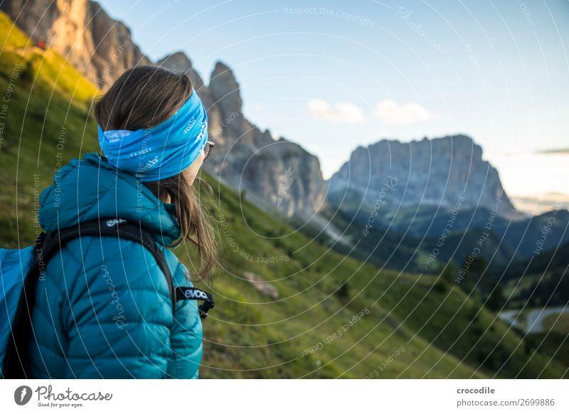 Dolomites High plain Colour photo Hiking Footpath Peak Mountaineering Alps Beautiful weather Meadow Summer Climbing Clouds Grödener Joch Pass Sunset Woman