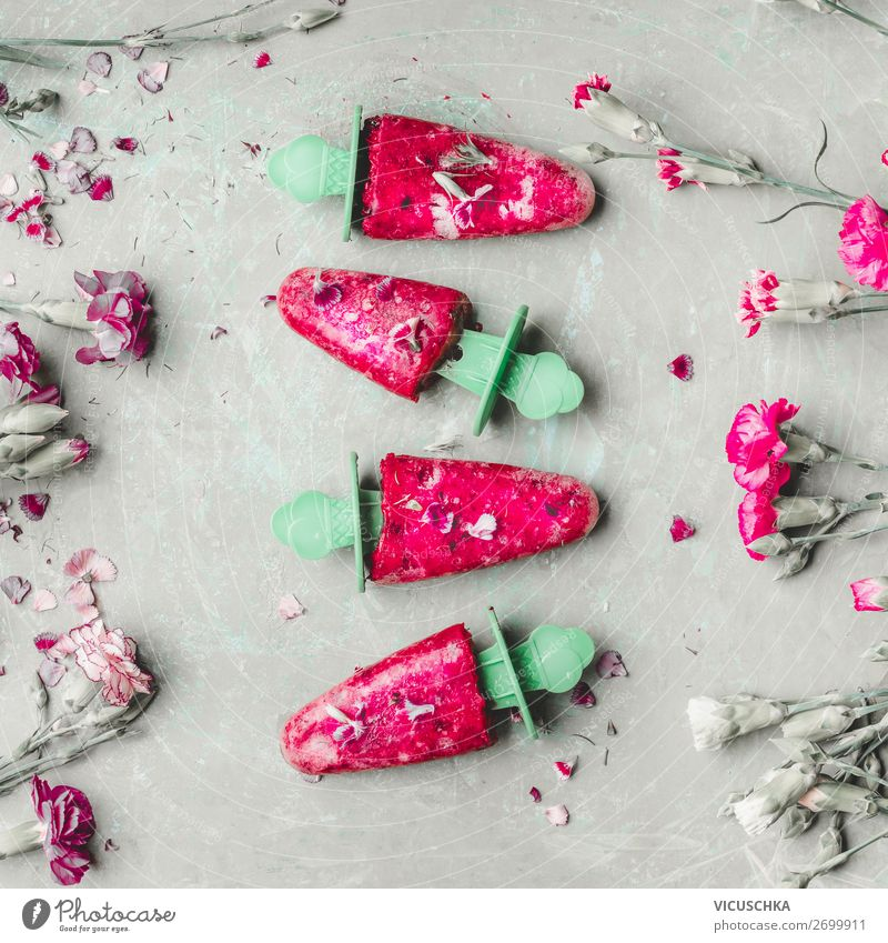 Homemade ice cream on a stick Ice cream Nutrition Style Design Healthy Eating Summer Pink Lollipop ice on a stick Food photograph Juice Frozen Colour photo