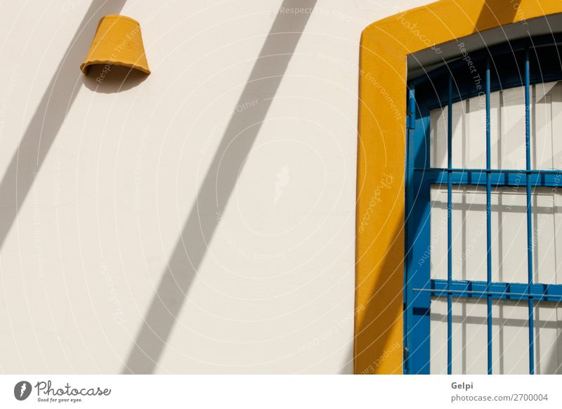 Nice facade Mediterranean house with drop shadows Vacation & Travel Old Blue White House (Residential Structure) Architecture Yellow Building Tourism Facade