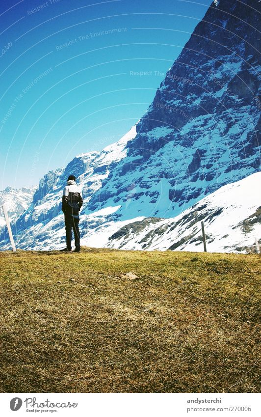 Human being Man Blue Adults Relaxation Landscape Cold Snow Mountain Grass Spring Rock Hiking Trip Tourism Stand