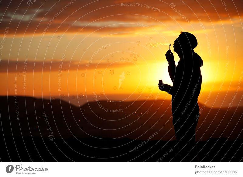 #AS# Lightness Art Esthetic Soap bubble Ease Freedom Sunset Romance Silhouette Blow Creativity Perspective Positive Joie de vivre (Vitality) Joy Moody Beautiful