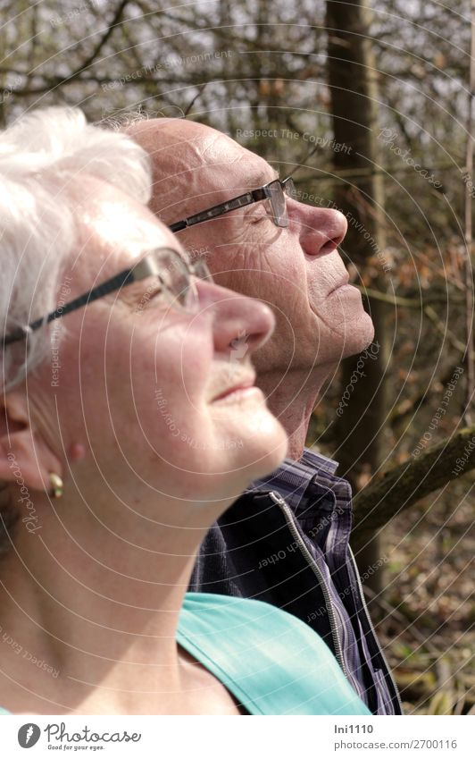 Seniors enjoy the spring sun Harmonious Well-being Contentment Senses Relaxation Calm Trip Human being Masculine Feminine Female senior Woman Male senior Man