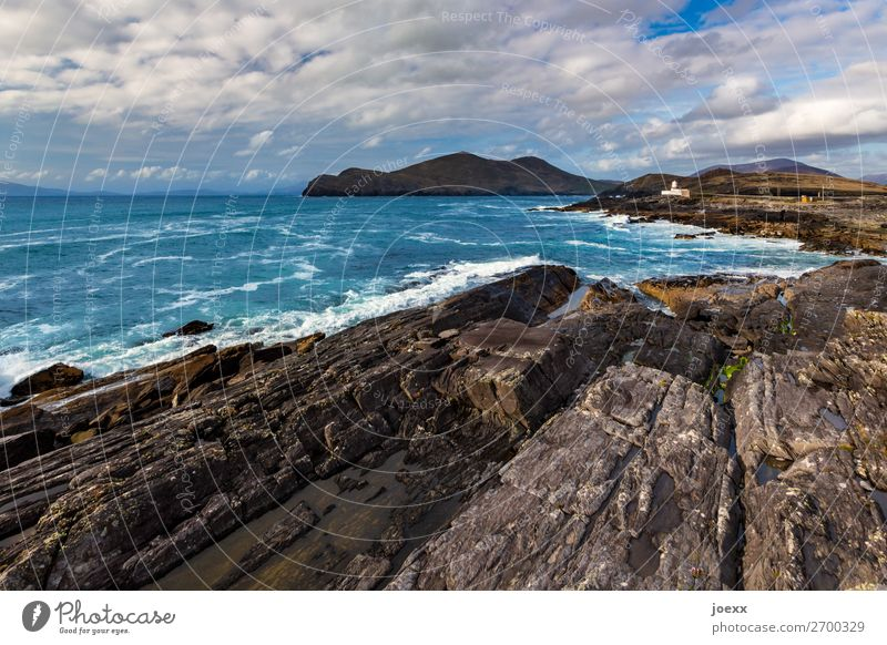 thick skin Nature Water Sky Clouds Summer Beautiful weather Rock Waves Ocean Island Northern Ireland Lighthouse Old Historic Maritime Blue Brown White Horizon