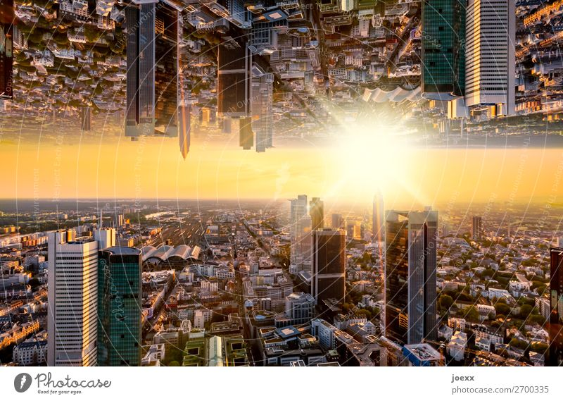 Frankfurt skyline with sunset, surreal mirrored Capital city Downtown Skyline High-rise Bank building Tall Above Town Orange Bizarre Business Chaos Horizon