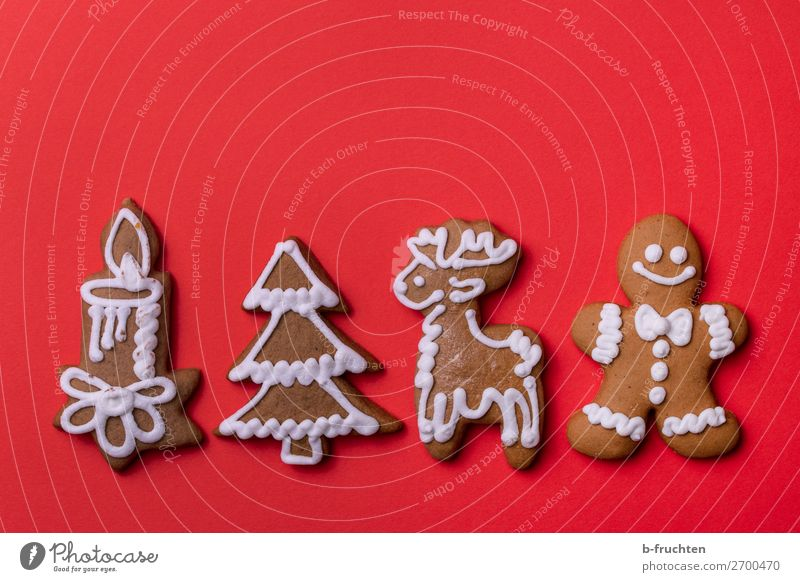 Christmas & Advent Red Eating Feasts & Celebrations Lie To enjoy Sign Candle Baked goods Candy Select Figure Fir tree Row Dough Christmas biscuit