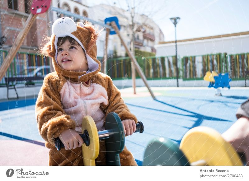 Little kid IS AN ANIMAL Joy Happy Playing Winter Hallowe'en Child Baby Boy (child) Man Adults Park Playground Smiling carnival costume carnaval atractions