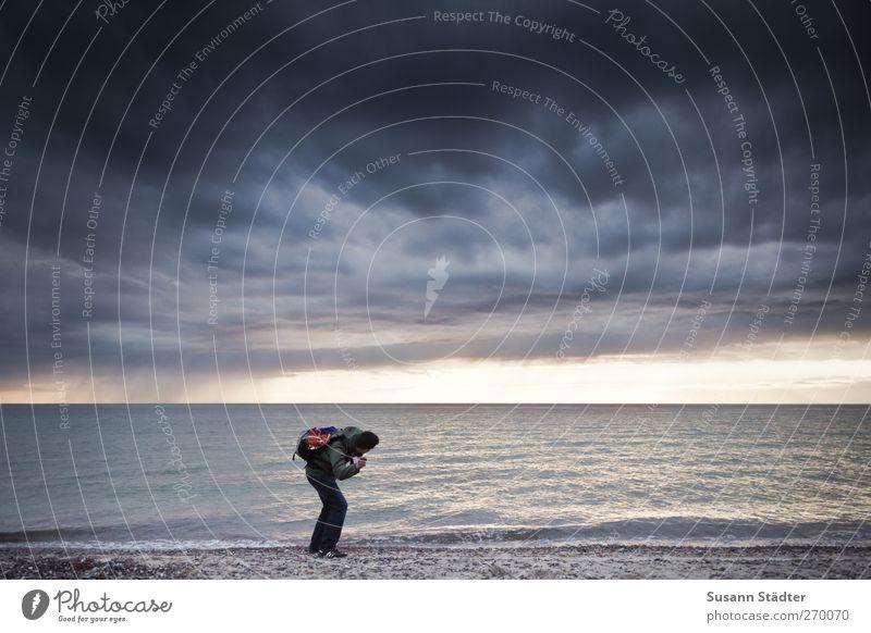 Hiddensee l Butterbemmenflitschen Man Adults Body 1 Human being Nature Sand Water Spring Wind Gale Waves Coast Beach Baltic Sea Ocean Exterior shot
