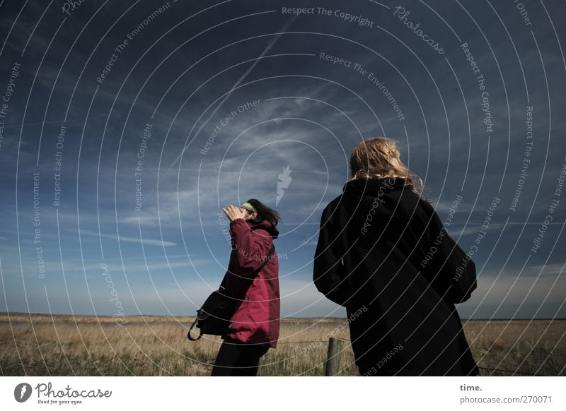 Hiddensee | On Bearing Young man Youth (Young adults) Woman Adults Body Back 2 Human being Sky Beautiful weather Meadow Observe Looking Stand Uniqueness