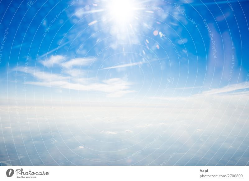 Sun on clear blue sky and clouds Design Beautiful Far-off places Freedom Summer Environment Nature Landscape Air Sky Sky only Clouds Horizon Sunrise Sunset