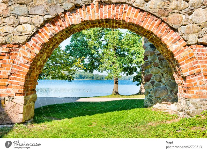 Brick arch and tree near lake Vacation & Travel Nature Old Summer Blue Green Water White Landscape Red Tree Architecture Autumn Yellow Spring Natural