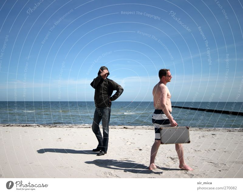 Human being Old Sun Summer Ocean Beach Winter Adults Spring Think Body Walking Wait Elegant Masculine Skin