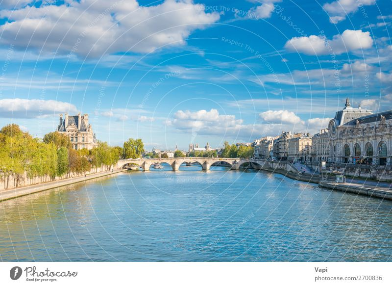 Paris cityscape with view over Seine river Beautiful Vacation & Travel Tourism Trip Sightseeing City trip Summer Summer vacation Nature Landscape Sky Clouds
