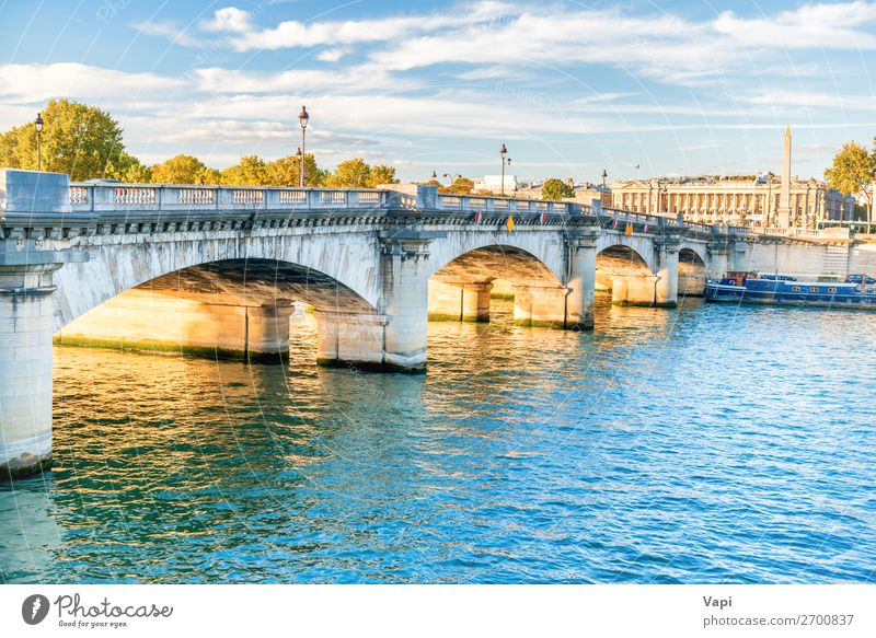 Bridge across Seine river Sky Vacation & Travel Old Summer Blue Town Green Water White Landscape Tree House (Residential Structure) Clouds Black Architecture