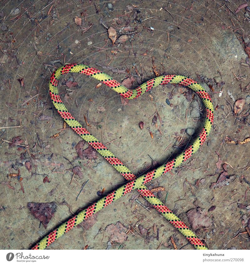 Rope creates love Climbing rope Earth Plastic Heart Simple Kitsch Brown Green Red Spring fever Love Infatuation Romance Ease Colour photo Exterior shot Detail