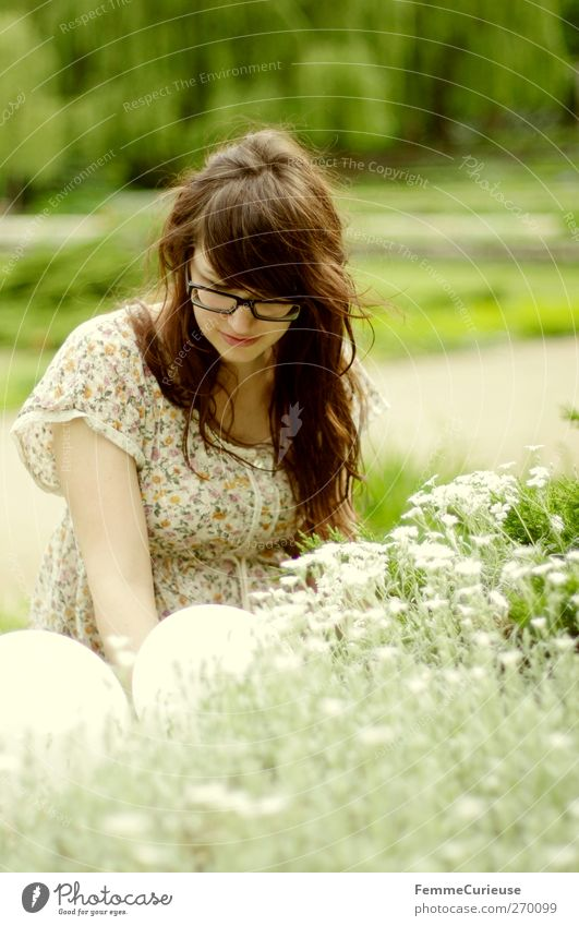 Human being Woman Nature Youth (Young adults) White Green Summer Flower Adults Relaxation Feminine Hair and hairstyles Blossom Garden Air Young woman