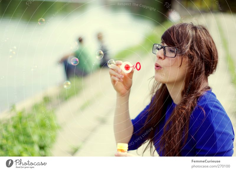 Blowing bubbles ... Feminine Young woman Youth (Young adults) Woman Adults 1 Human being 18 - 30 years Leisure and hobbies Joy Soap bubble Bubble Couple