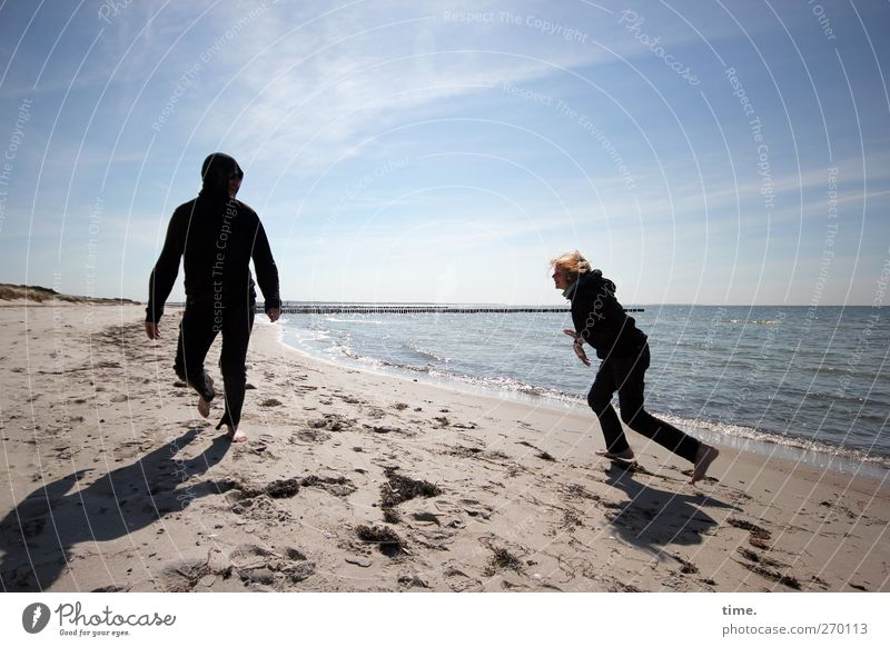 Human being Child Sky Water Beach Adults Relaxation Life Playing Spring Coast Happy Sand Body Infancy Walking