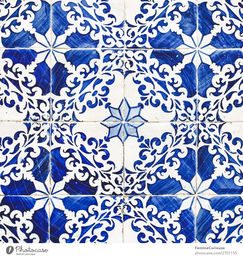 Colored wall tiles in Portugal House (Residential Structure) Blue White Tile Lisbon Pattern Blossom Painted Structures and shapes Blue-white Art Colour photo