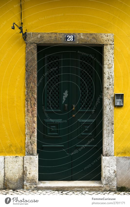 Vacation & Travel House (Residential Structure) Travel photography Yellow Facade Living or residing Door Portugal Lisbon Dark green