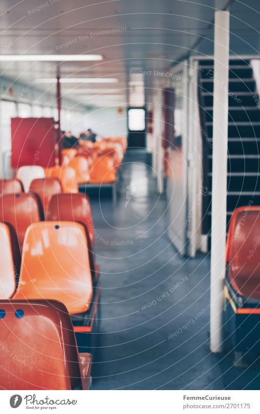 Interior of a ferry with colourful seats Transport Means of transport Passenger traffic Navigation Boating trip Passenger ship Ferry Vacation & Travel
