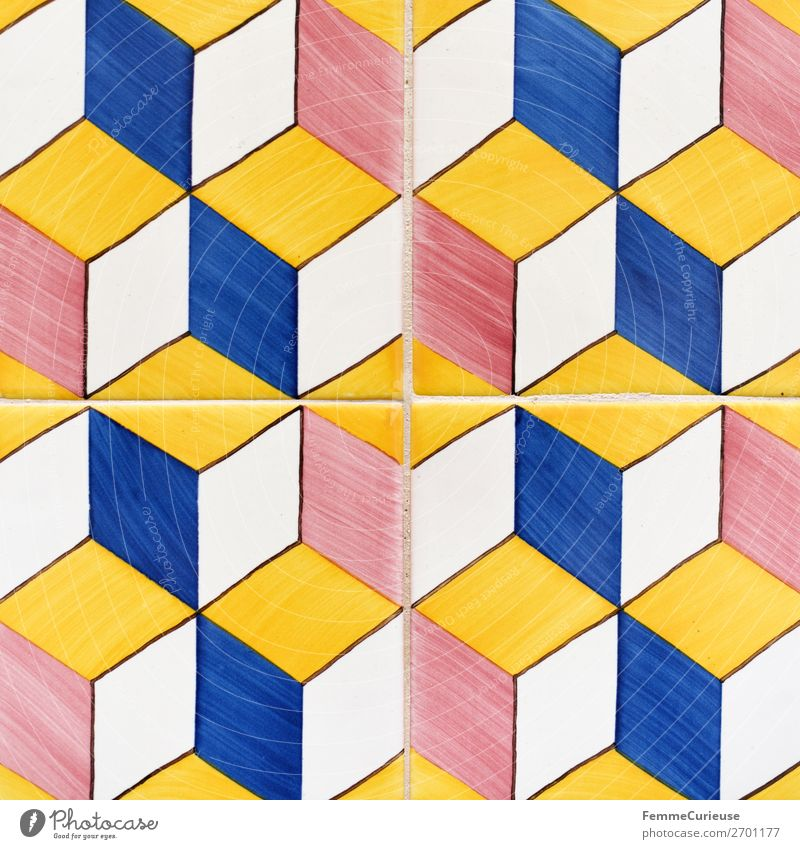 Colored wall tiles in Portugal House (Residential Structure) Blue Multicoloured Yellow Red White Tile Lisbon Cuboid Square Symmetry Design Pattern Geometry Art