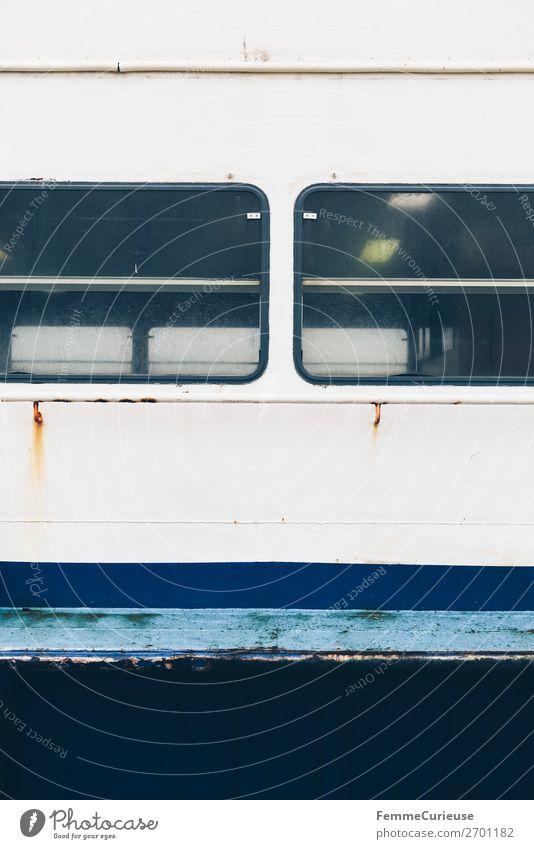 Ferry windows Transport Means of transport Passenger traffic Navigation Passenger ship Steamer Movement Window Rust Portugal Blue tone White Colour photo