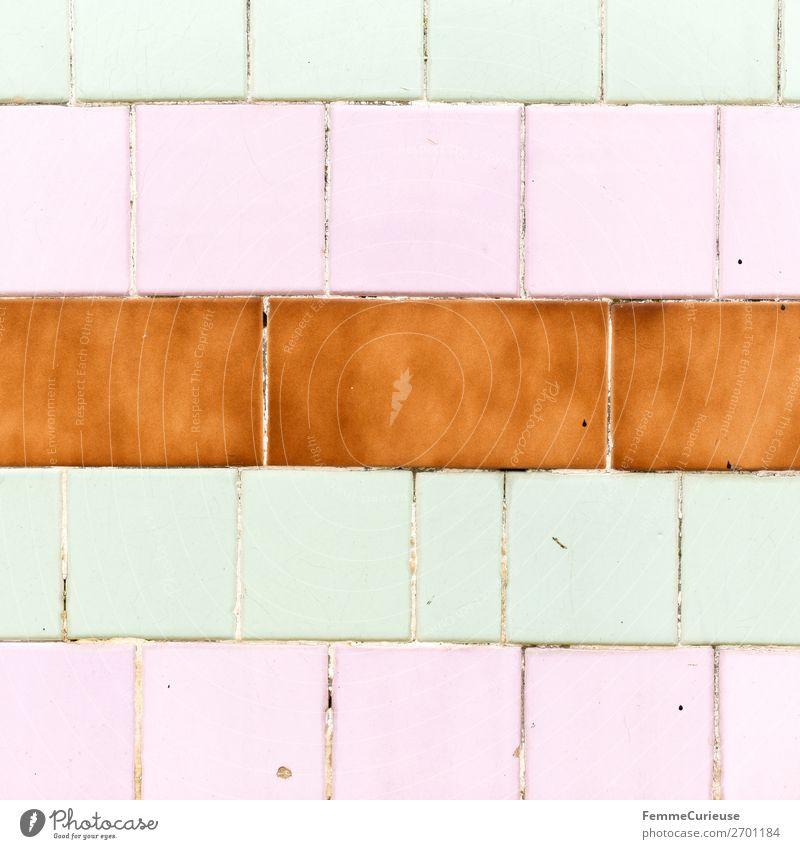 Colored wall tiles in Portugal House (Residential Structure) Pink Mint green Brown Multicoloured Tile Lisbon Geometry Rectangle Colour photo Exterior shot Day