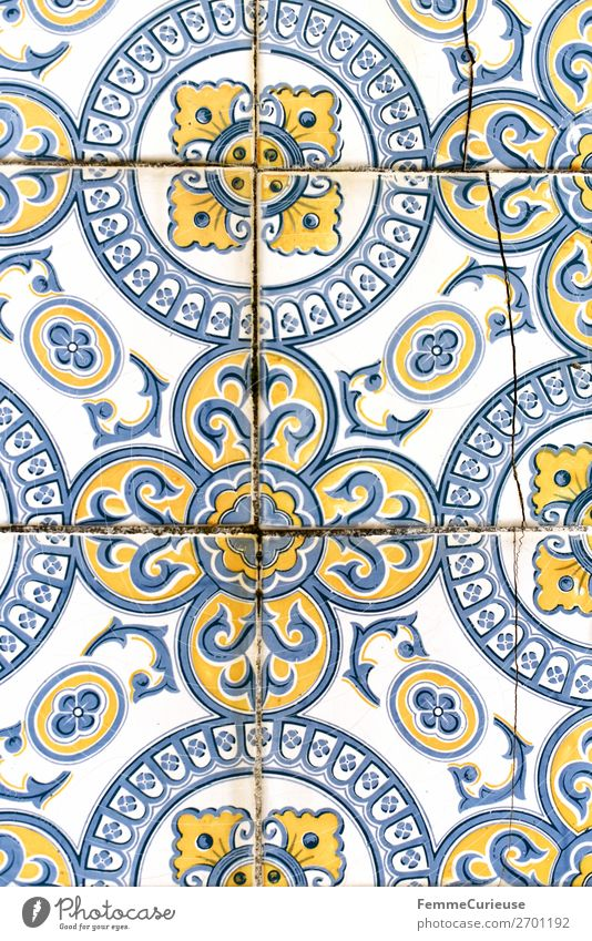 Coloured tiles in Portugal Town Tradition Pattern Tile Facade Design Structures and shapes Yellow Blue White Historic corrupted Colour photo Exterior shot Day